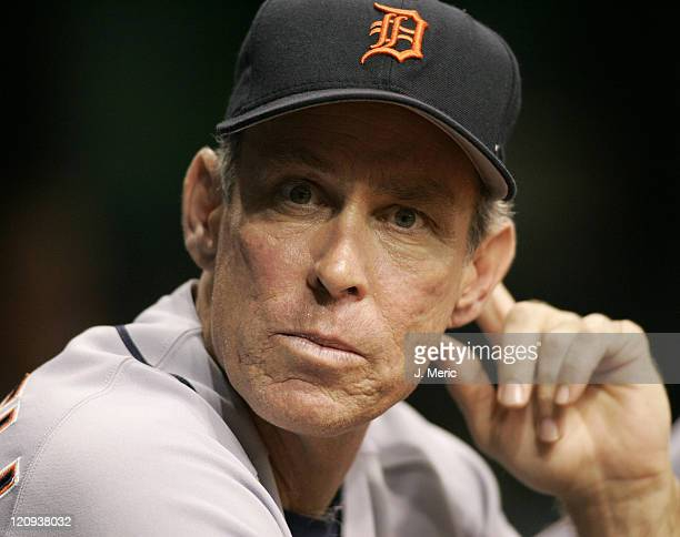 Detroit Tigers manager Alan Trammel prepares to make a change in Thursday night's game against the Tampa Bay Devil Rays at Tropicana Field in St...