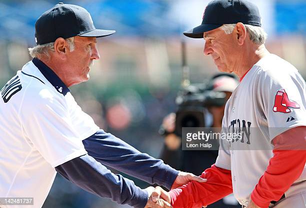 Detroit Tigers manager Jim Leyland and Boston Red Sox Manager Bobby Valentine exchange handshakes at home plate prior to the start of the game...