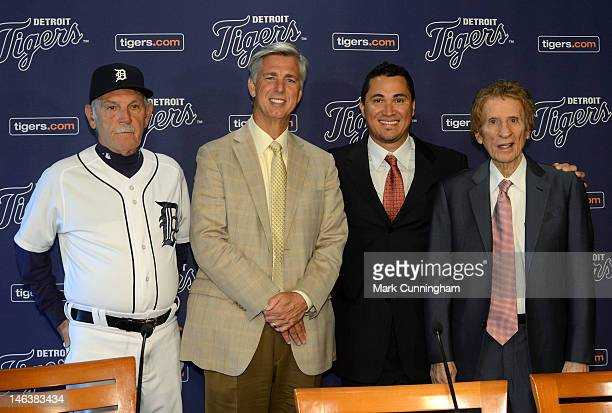 Detroit Tigers manager Jim Leyland President CEO General Manager Dave Dombrowsk former Detroit Tigers outfielder Magglio Ordonez and Tigers owner...