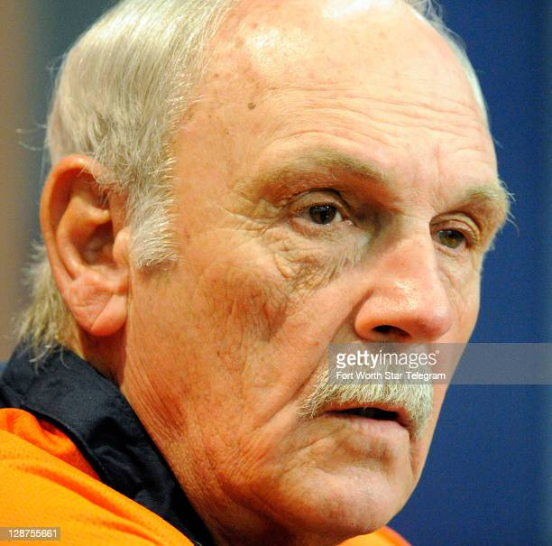 Detroit Tigers Manager Jim Leyland talks to the media about the American League Championship Series against the Texas Rangers at Rangers Ballpark in...