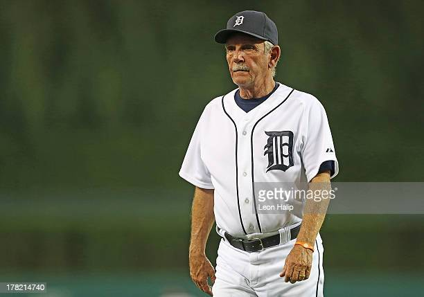 Detroit Tigers manager Jim Leyland walks back to the dugout in the sixth inning during the game against the Minnesota Twins at Comerica Park on...