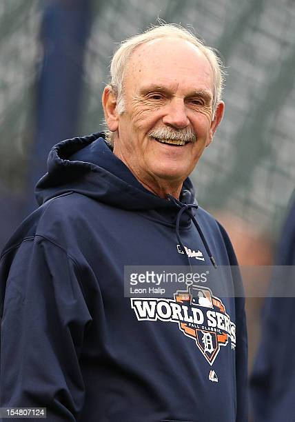 Detroit Tigers manager Jim Leyland watches batting practice during the afternoon workout at Comerica Park on October 26 2012 in Detroit Michigan The...