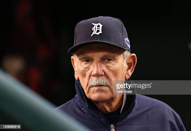 Detroit Tigers manager Jim Leyland watches the action from the dugout during Game One of the American League Division Series against the Oakland...
