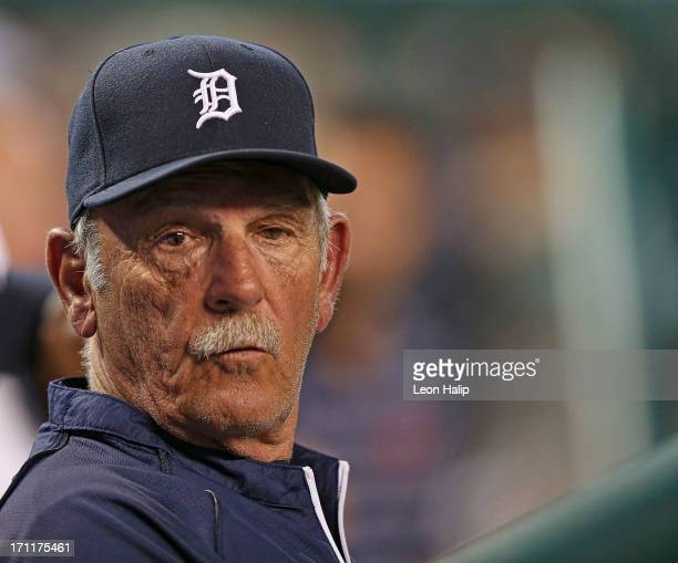 Detroit Tigers manager Jim Leyland watches the action from the dugout during the game against the Boston Red Sox at Comerica Park on June 22 2013 in...