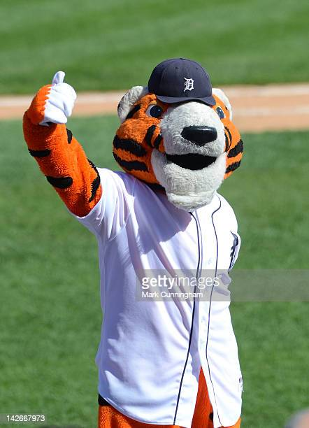 Detroit Tigers mascot Paws performs during the game against the Boston Red Sox at Comerica Park on April 8 2012 in Detroit Michigan The Tigers...