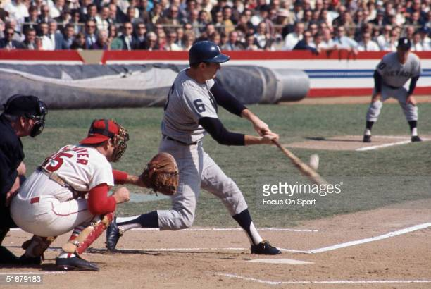 Detroit Tigers' outfielder Al Kaline swings against the St Louis Cardinals during the 1968 World Series at Busch Stadium in St Louis Missouri