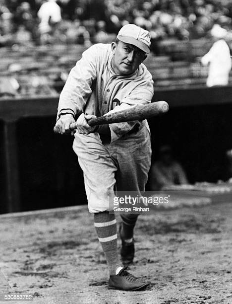 "Detroit Tigers outfielder Ty Cobb, ""The Georgia Peach"" shown getting ready to bat."