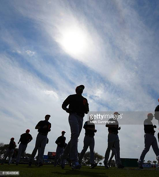 Detroit Tigers players warmup prior to the Spring Training game against the Washington Nationals at Space Coast Stadium on March 5 2016 in Viera...
