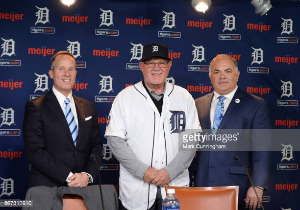 Detroit Tigers President and CEO Christopher Ilitch and Tigers Executive Vice President of Baseball Operations General Manager Al Avila pose for a...