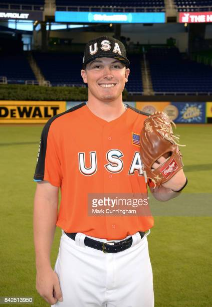 Detroit Tigers prospect Beau Burrows of Team USA poses for a photo prior to the 2017 SiriusXM AllStar Futures Game at Marlins Park on July 9 2017 in...
