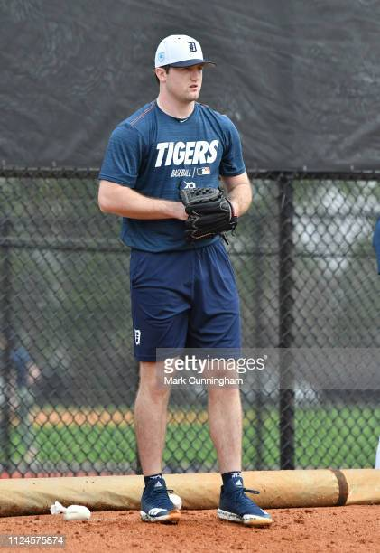 Detroit Tigers prospect Casey Mize pitches during Spring Training workouts at the TigerTown Complex on February 12 2019 in Lakeland Florida