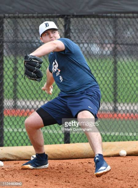 Detroit Tigers prospect Casey Mize throws a pitch during Spring Training workouts at the TigerTown Complex on February 12 2019 in Lakeland Florida