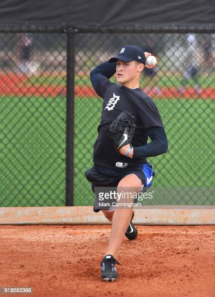 Detroit Tigers prospect Matt Manning pitches during Spring Training workouts at the TigerTown Facility on February 13 2018 in Lakeland Florida