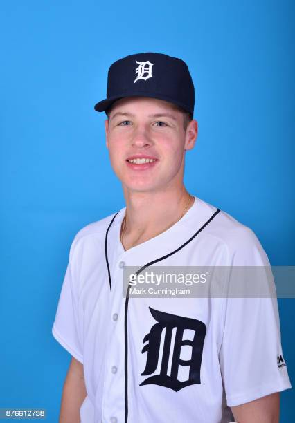 Detroit Tigers prospect Matt Manning poses for a photo during Spring Training at the TigerTown facility on February 14 2017 in Lakeland Florida