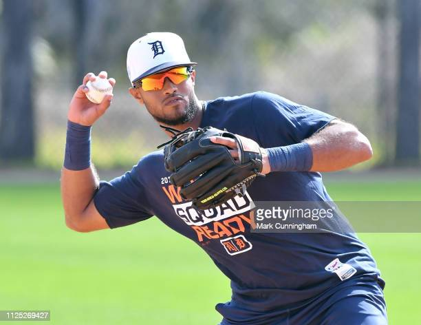 Detroit Tigers prospect Willi Castro fields during Spring Training workouts at the TigerTown Complex on February 16 2019 in Lakeland Florida