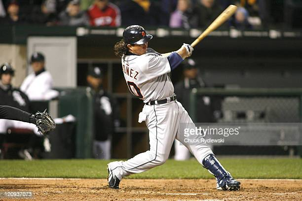 Detroit Tigers' Right Fielder Magglio Ordonez singles during their game versus the Chicago White Sox April 25 2007 at US Cellular Field in Chicago...