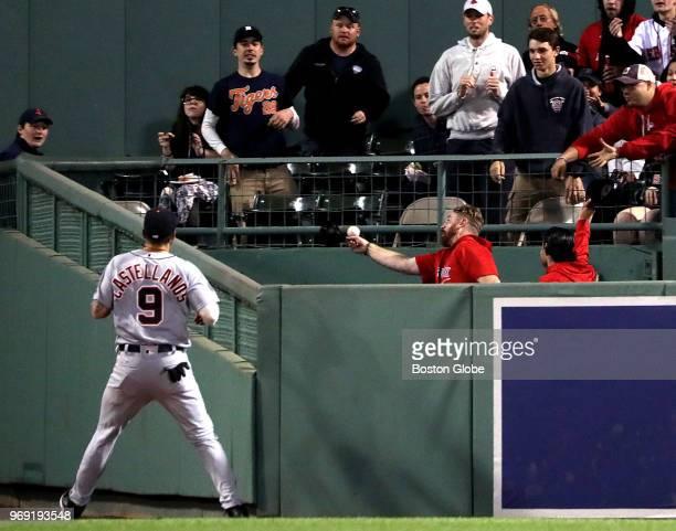 Detroit Tigers right fielder Nicholas Castellanos can only watch as a home run off the bat of Boston Red Sox left fielder Andrew Benintendi not...