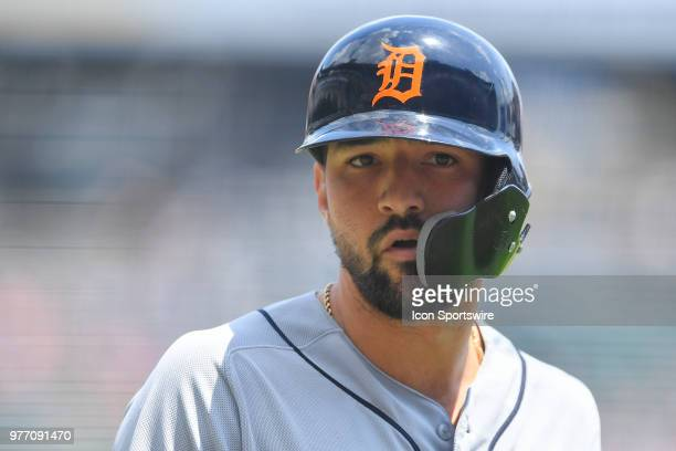 Detroit Tigers right fielder Nicholas Castellanos looks on after hitting a two run home run against the Chicago White Sox on June 17 2018 at Toyota...