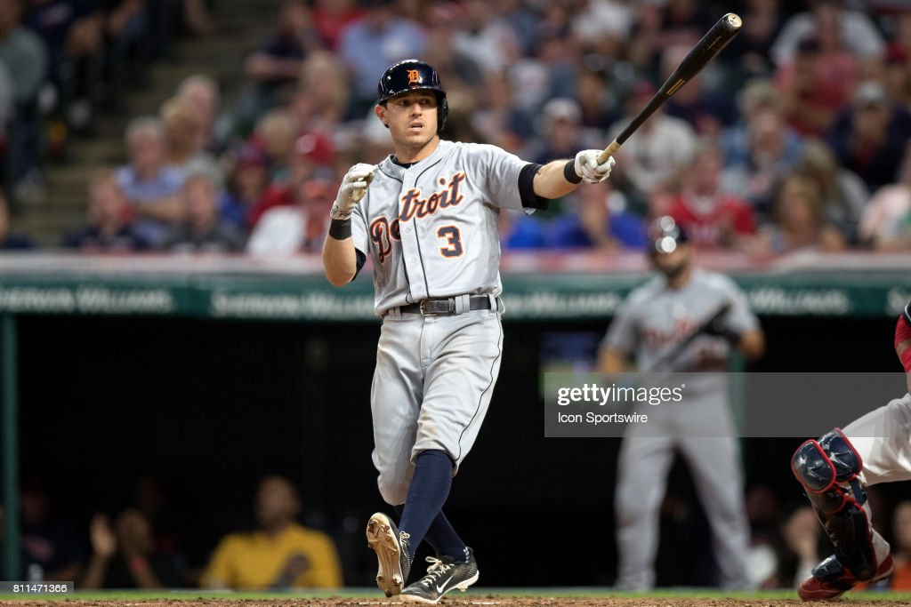 Detroit Tigers second baseman Ian Kinsler (3) strikes out to end the eighth inning of the Major League Baseball game between the Detroit Tigers and Cleveland Indians on July 8, 2017, at Progressive Field in Cleveland, OH. Cleveland defeated Drtroit 4-0.