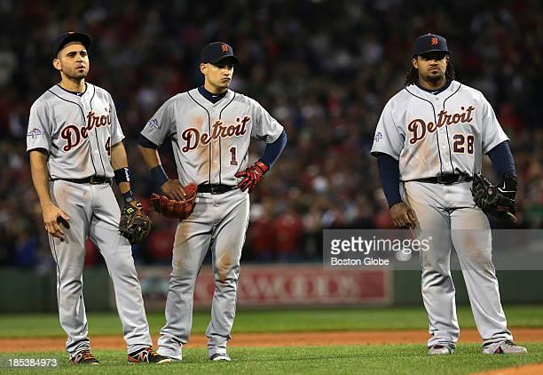 Detroit Tigers second baseman Omar Infante Detroit Tigers shortstop Jose Iglesias and Detroit Tigers first baseman Prince Fielder can't hide their...