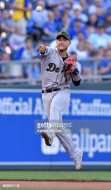Detroit Tigers shortstop Jose Iglesias runs down a ground out by Kansas City Royals' Lorenzo Cain to end the first inning on Monday May 29 2017 at...
