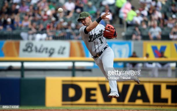 Detroit Tigers shortstop Jose Iglesias throws out a Chicago White Sox runner in the second inning on Sunday May 28 2017 at Guaranteed Rate Field in...