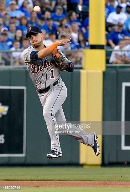 Detroit Tigers shortstop Jose Iglesias throws out the Kansas City Royals' Eric Hosmer at first to end the first inning at Kauffman Stadium in Kansas...