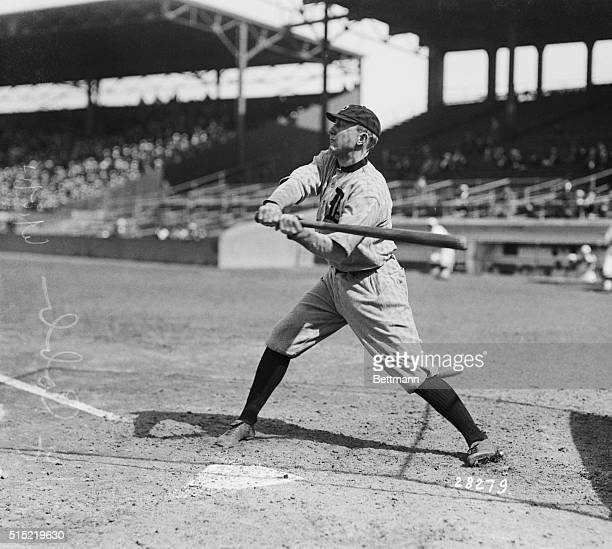 Detroit Tigers star player, Ty Cobb, batting in a game against Boston.