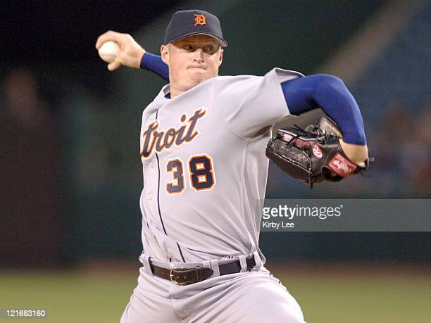 Detroit Tigers starter Jeremy Bonderman pitches during 52 victory over the Los Angeles Angels of Anaheim at Angel Stadium in Anaheim Calif on Tuesday...