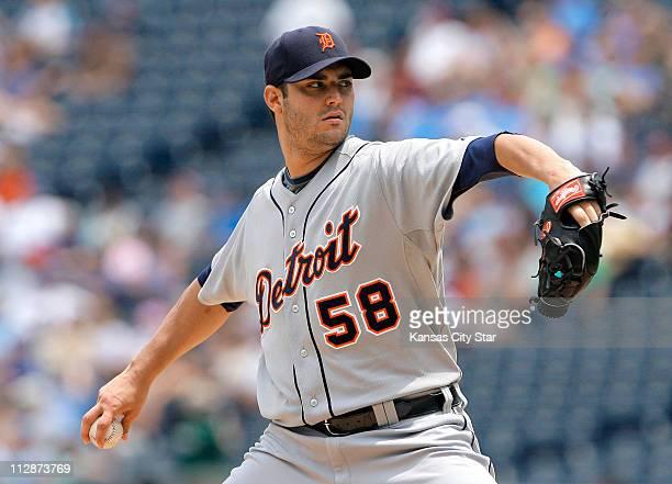Detroit Tigers starting pitcher Armando Galarraga works against the Kansas City Royals in the third inning at Kauffman Stadium in Kansas City...