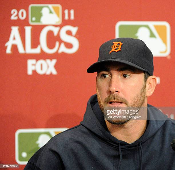 Detroit Tigers starting pitcher Justin Verlander talks to the media about the American League Championship Series against the Texas Rangers at...