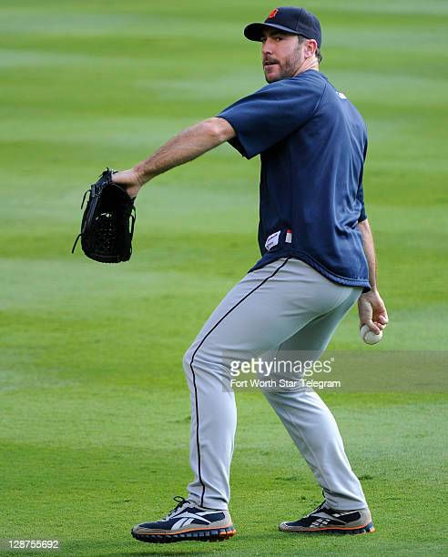 Detroit Tigers starting pitcher Justin Verlander works out with his team before the American League Championship Series against the Texas Rangers at...