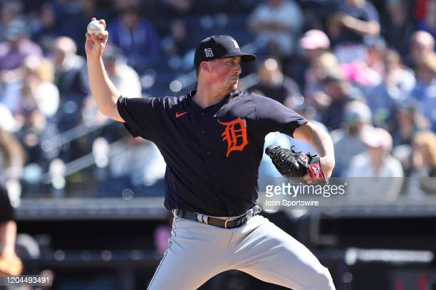 Detroit Tigers starting pitcher Kyle Funkhouser delivers a pitch during the MLB Spring Training game between the Detroit Tigers and New York Yankees...