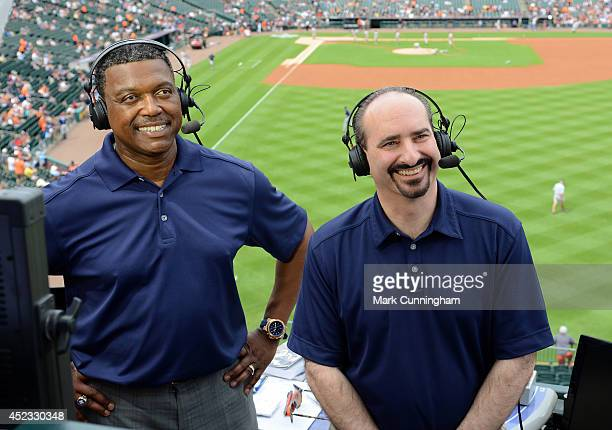 Detroit Tigers television broadcasters Rod Allen and Mario Impemba look on prior to the game against the Tampa Bay Rays at Comerica Park on July 5...