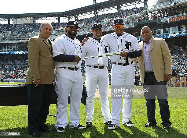 Detroit Tigers Vice President, Assistant General Manager Al Avila, Prince Fielder, Alex Avila, Miguel Cabrera of the Detroit Tigers and Lery Duran...