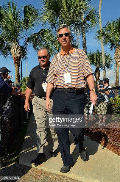 Detroit Tigers Vice President/Assistant General Manager Al Avila and President, CEO and General Manager Dave Dombrowski walk to the practice fields...