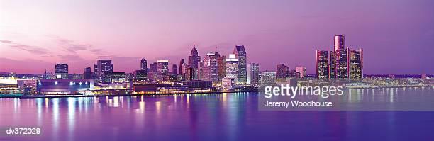 Detroit under purple sky