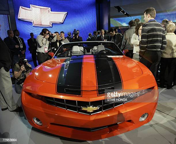 The Chevrolet Camaro concept convertible on display 09 January 2007 at the North American International Auto Show at Cobo Hall in Detroit Michigan...