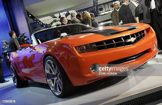 The Chevrolet Camaro convertible concept car on display 09 January 2007 at the North American International Auto Show at Cobo Hall in Detroit...