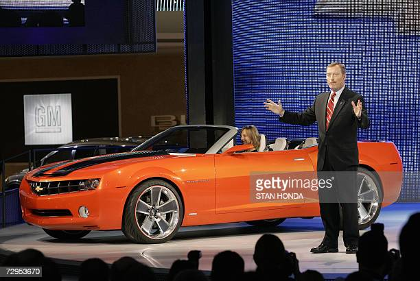 Troy Clarke President of General Motors North America introduces the Chevrolet Camaro convertible concept car 09 January 2007 at the North American...