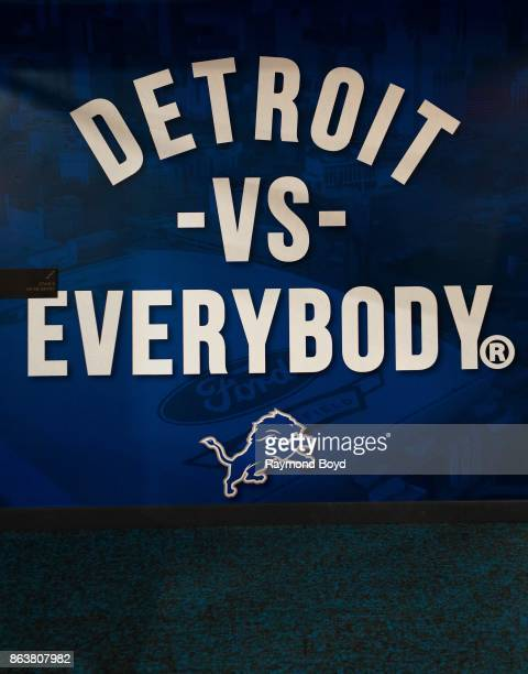 'Detroit vs Everybody' signage at Ford Field home of the Detroit Lions football team in Detroit Michigan on October 12 2017
