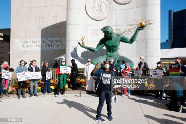"""""""Detroit Will Breathe"""" organiser Tristan Taylor, speaks at a rally where people want every vote counted from the 2020 presidential election, on..."""