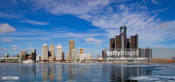 detroit - winter reflections - detroit river stock pictures, royalty-free photos & images