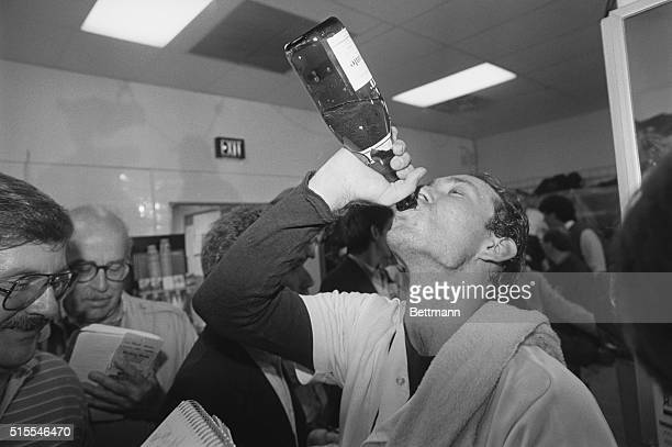 World Series MVP Alan Trammell of the Tigers celebrates victory with champagne October 14