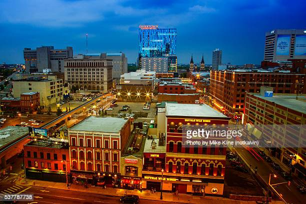 detroit's greektown district - detroit michigan stock-fotos und bilder