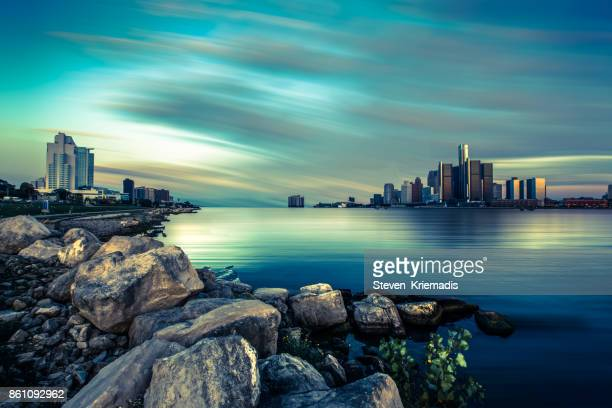 detroit-windsor skyline - detroit river stock pictures, royalty-free photos & images