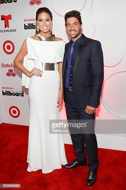 Miss Universe Gabriela Isler and David Choccaro backstage during the 2014 Billboard Latin Music Awards from Miami Florida at BankUnited Center...