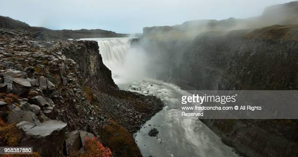 Dettifoss is a waterfall in Vatnajökull National Park in Northeast Icelan