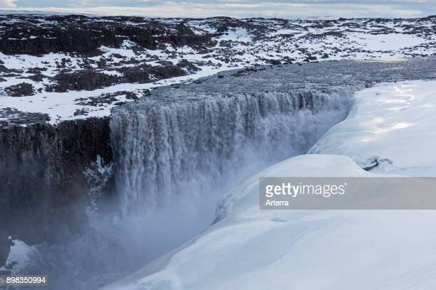 Dettifoss on the Jokulsa a Fjollum river in winter Europe's most powerful waterfall in Vatnajokull National Park in Northeast Iceland
