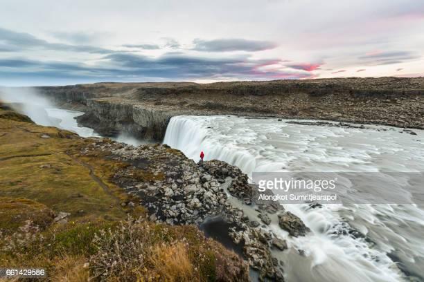 dettifoss waterfall, jokulsargljufur national park, iceland - dettifoss waterfall stock photos and pictures